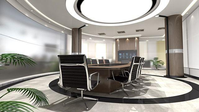 Imagen oficina con tabiques de cristal